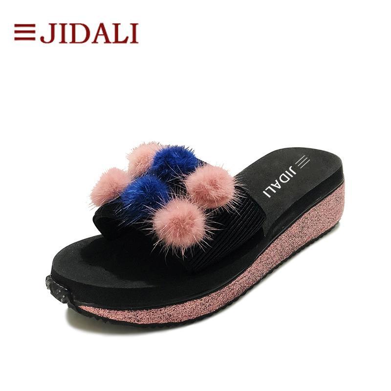 wholesale Fashion Furry Balls Flip Flop Women Shoes 5cm High EVA Pink Bling Outside Wedges Platform Sport Sandals Summer Size 35-40