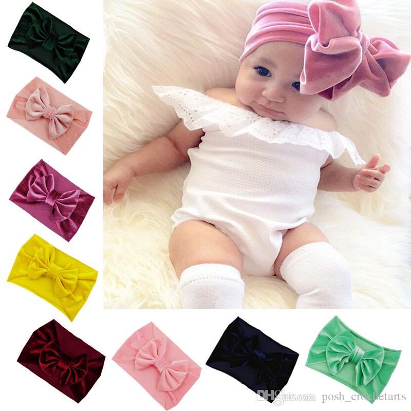 Velvet Baby-Stirnband-geknotete großer Bogen Säugling Kopf Wraps Fest neugeborene Baby-Haar-Zusätze Boutique-Stirnband zum Verkauf Bay Dusche Geschenken