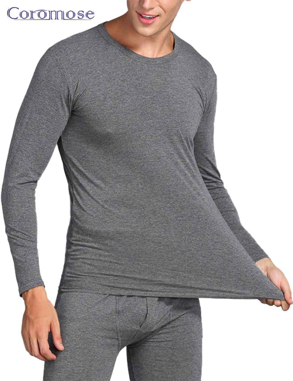 Coromose Inverno Homens Long Johns Mens Conjuntos de Roupa Interior Térmica Além de Veludo Quente Longo John O-pescoço Térmicas Undershirts Calças L-3XL