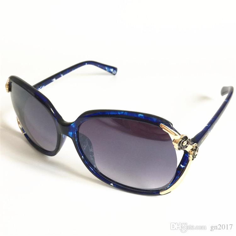 Moda Kadınlar Iversize Çerçeve Güneş Gözlüğü Anti-UV Gözlükler Çiçek Başkanı Dekorasyon Güneş Gözlük Gözlükler