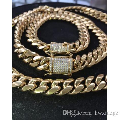 Cadena para hombre de Miami cubano Pulsera Set 18k chapado en oro de 12 mm * * Broche de diamante