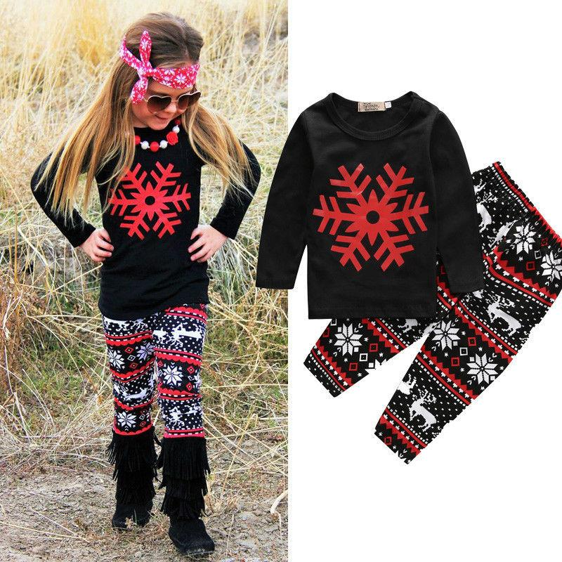 CM-Kid Toddler Girls Jumper Set Long Sleeve Pullover Sweatshirt Kids Girl Tops+Long Pants School 2pcs Clothing Outfit