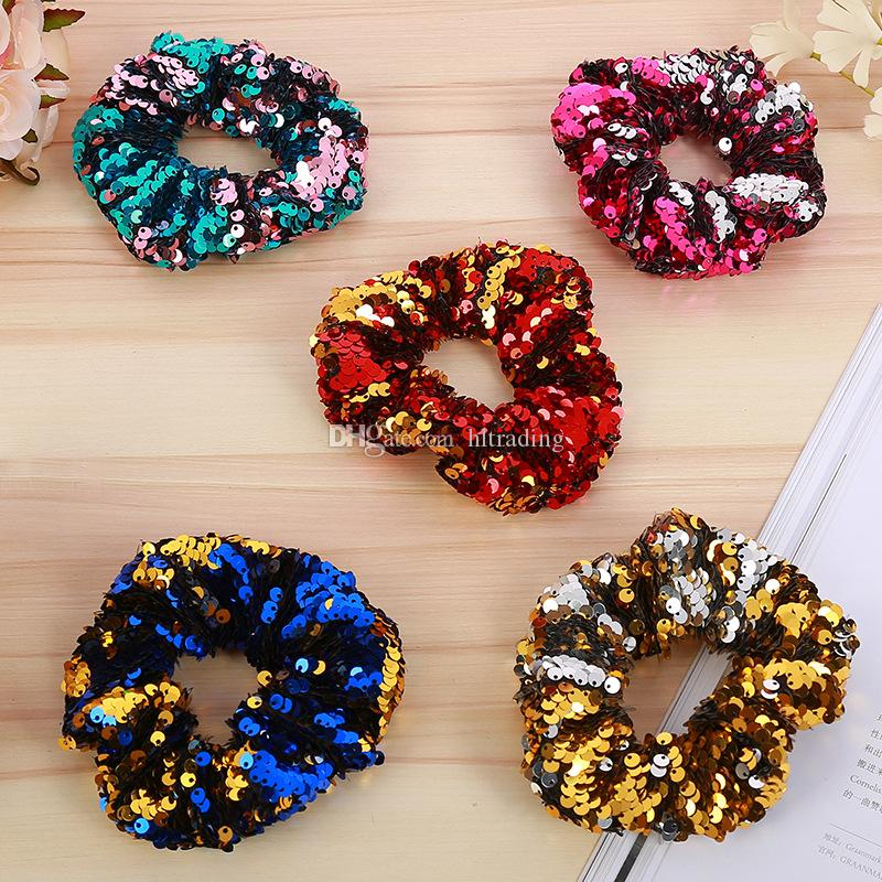 Baby Mermaid Sequins Headband 5 Colors Elastic Ponytail Accessories Ornament Rings For Girls Hair Ropes children Hair Bands Headwear C5552