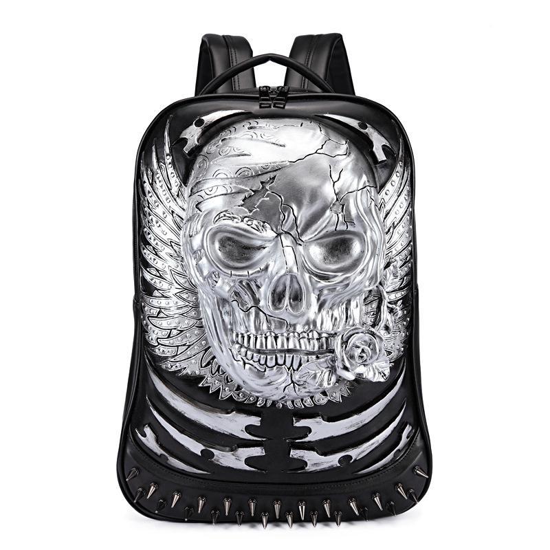 Men movement Casual tourism backpack 3D Three-dimensional Shantou outdoor personality Tide cool Creativity school bag hidden zipper pocket