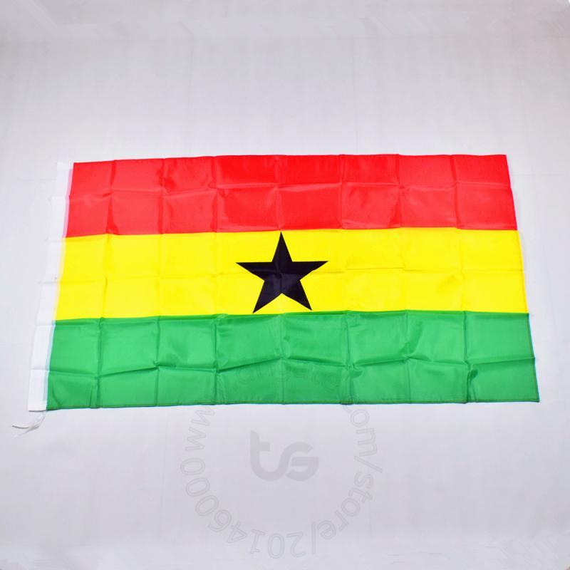 غانا / العلم الوطني الغاني الحرة الشحن 3X5 FT / 90 * 150CM معلق العلم الوطني غانا / الغاني الديكور المنزلي العلم راية