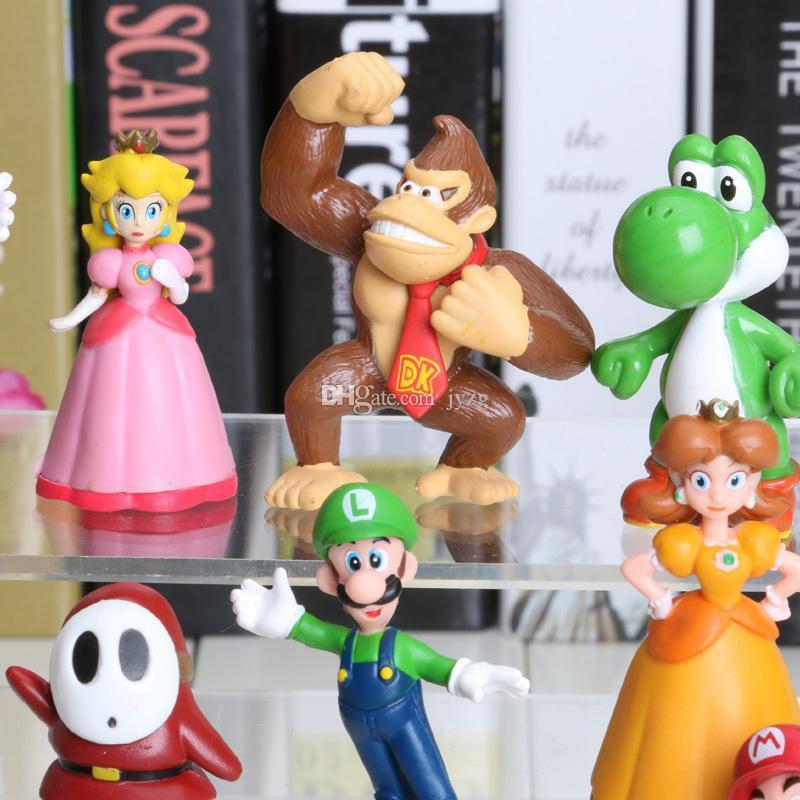 18pcs / set 3-7cm Mario Bros Ação PVC figuras Brinquedos Yoshi pêssego princesa Luigi Indivíduo tímido Odyssey Donkey Kong Dolls modelo