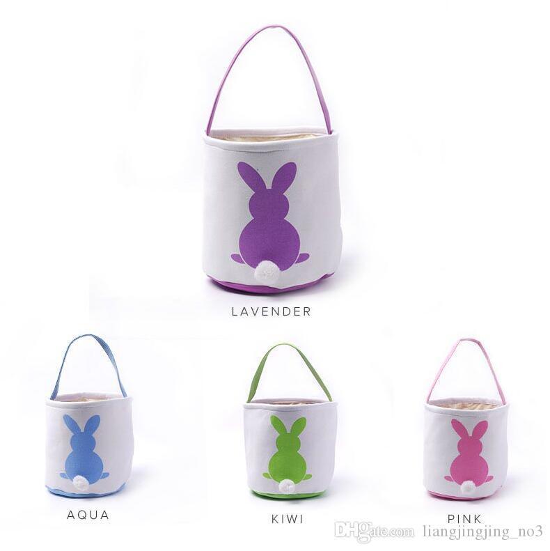 عيد الفصح أرنب سلة عيد الفصح الأرنب أكياس أرنب المطبوعة قماش حمل حقيبة البيض سلال الحلوى 4 ألوان البحر الشحن OOA3960