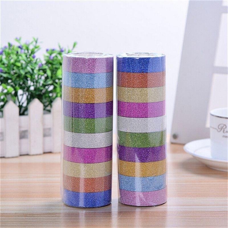 10 rotoli / lotto 3M Glitter Washi adesivo carta adesivo nastro adesivo etichetta per fai da te decorativo colore casuale