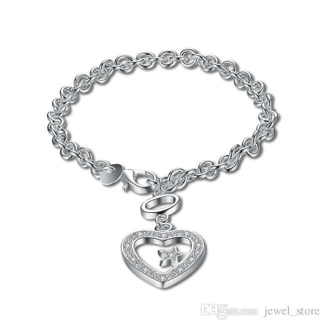 Wedding gift !Hanging stone heart bracelett 925 silver bracelet JSPB027,Beast gift men and women sterling silver plated Charm bracelets