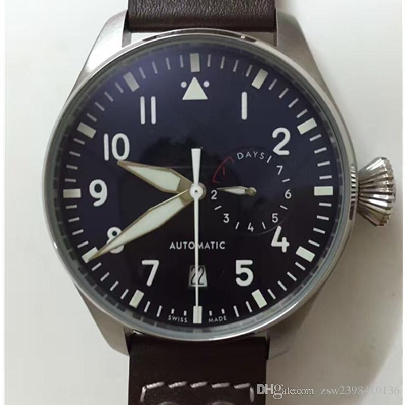 2017 Top Quality Luxo Relógio de pulso Big Pilot Midnight Blue mostrador de relógio 46mm Mens Watch Relógios Homens de Automático.