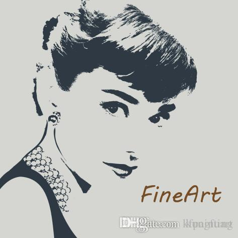100% handmade painting art wholesale audrey hepburn black white canvas painting wall decor quotes oil wall art