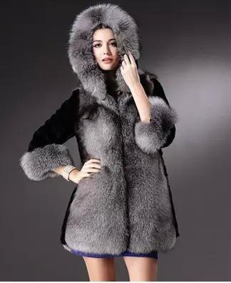فو الفراء ستر الشتاء المرأة الكبيرة طوق الفراء مقنع معطف سميك دافئ السترة سترة طويلة بالاضافة الى حجم S-4XL