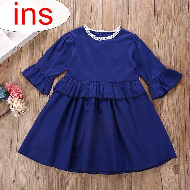 INS-Mädchen-Denimblau-Kleider flattern Hülsenkleid-Kindrüsche kleidet kleines Mädchen Kleidungkinder, die Art und Weisebaby-Prinzessinkleid kleiden