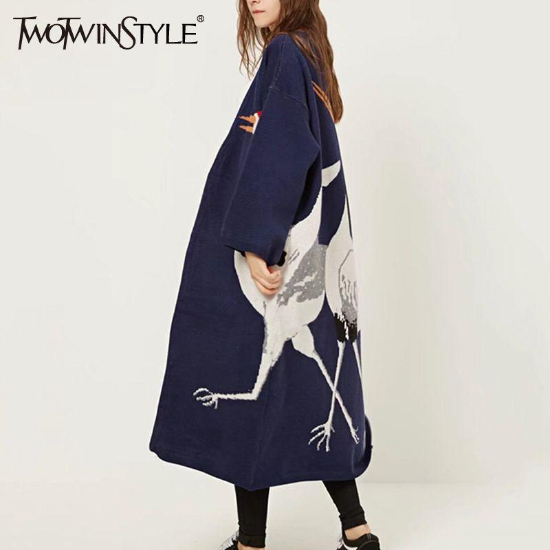 TWOTWINSTYLE Cigüeña Mujer Cardigan Suéter para Mujer Invierno Jumper Coat Femenino Kimono Vintage de Punto Trench Windbreaker Largo S118