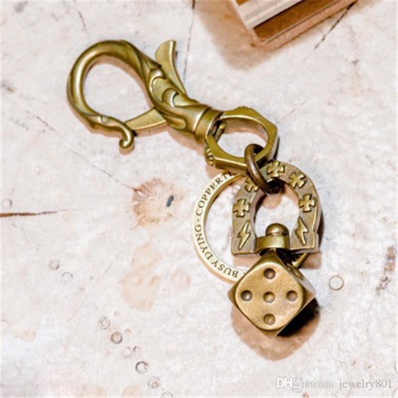 Brass Car Keychain pendant Chain Christmas 2 Piece