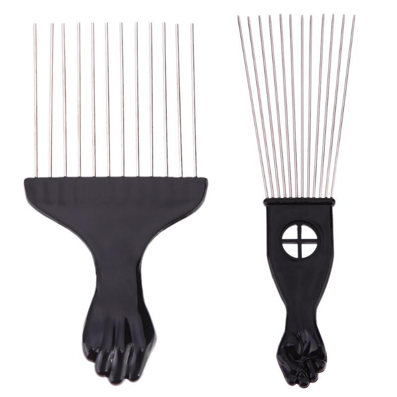 Salon Use Black Metal African American Pick Comb Hair Combs Afro Hair Comb For Hairdressing Styling Tool
