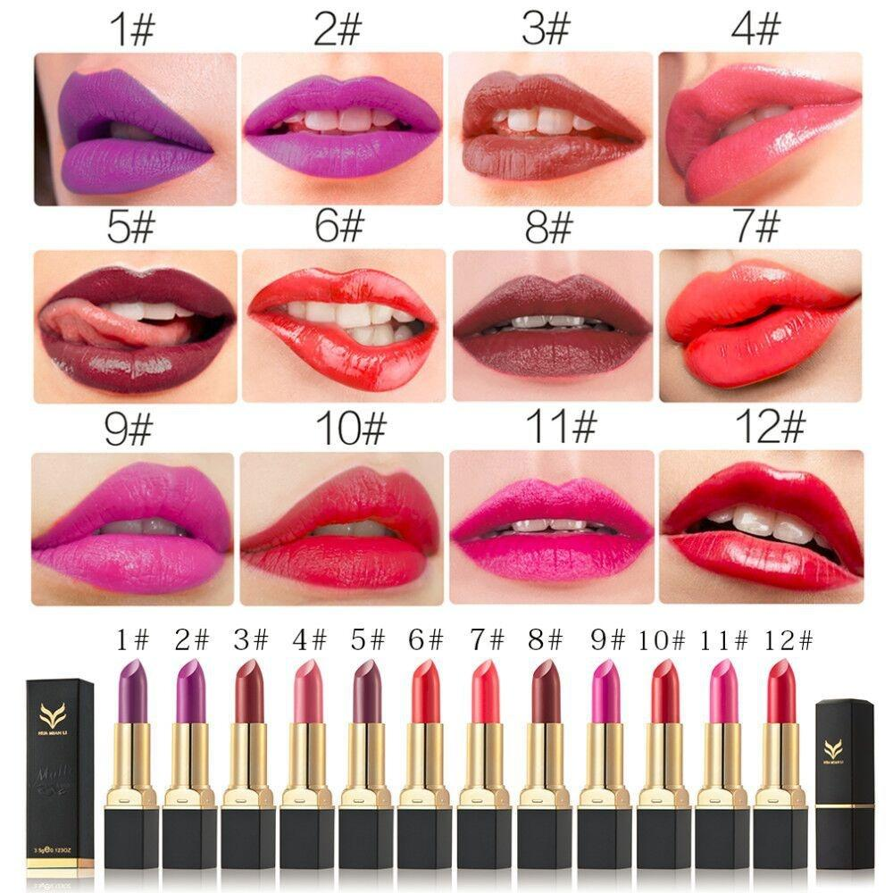 HUAMIANLI Velvet Matte Lipstick Vampire Hydrating Moisturizing Long Lasting Lipsticks Quality Professional Lip Makeup 12 Colors