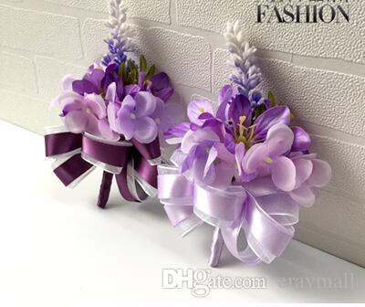 The bride bridegroom lavender purple corsages brooches beach wedding bouquets bridesmaids bouquets wrist flowers business party brooches