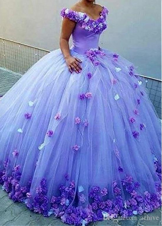 Великолепная Роскошная бальное платье Quinceanera платья 2020 V шеи Hand Made Цветы Puffy платье Сладкие 15 платьев Debutante платья
