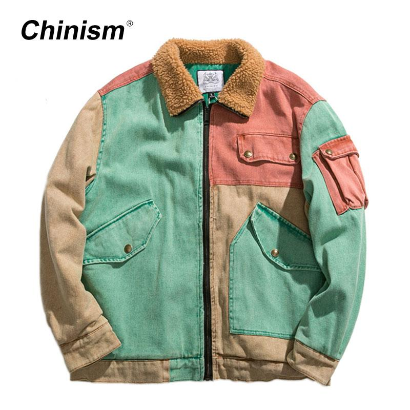 wholesale Color Patchwork Oversize Winter Jackets Patch Pockets Overcoats Loose Stylish Jackets Winter Warm Coats Streetwear 673