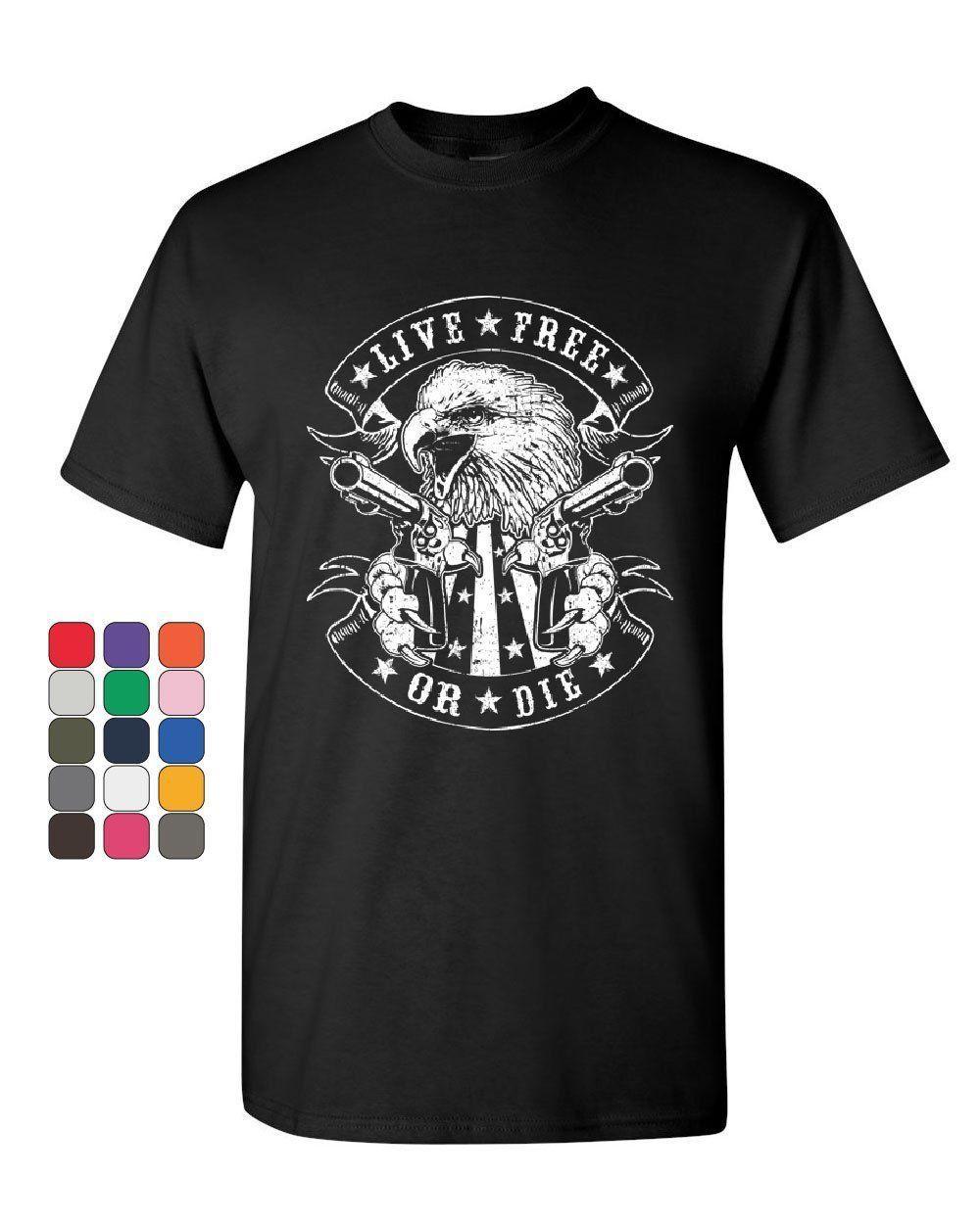 Canlı Ücretsiz veya Die T-Shirt Kartal Biker 2nd Değişiklik Amerikan Bayrağı Erkek Tee Gömlek