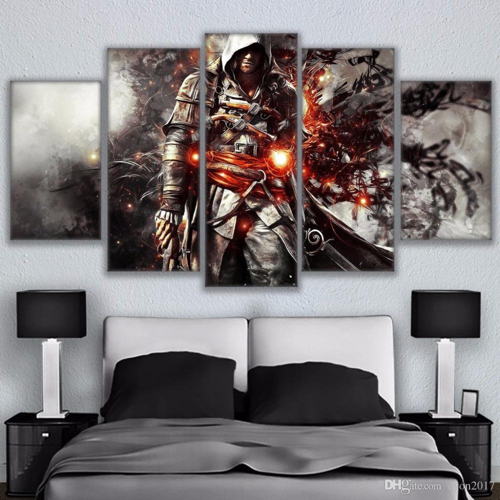 Wall Art Pictures Canvas Decor Modern HD 5 Panel Assassins Creed Character Living Room Printed Modular Posters Paintings Frame