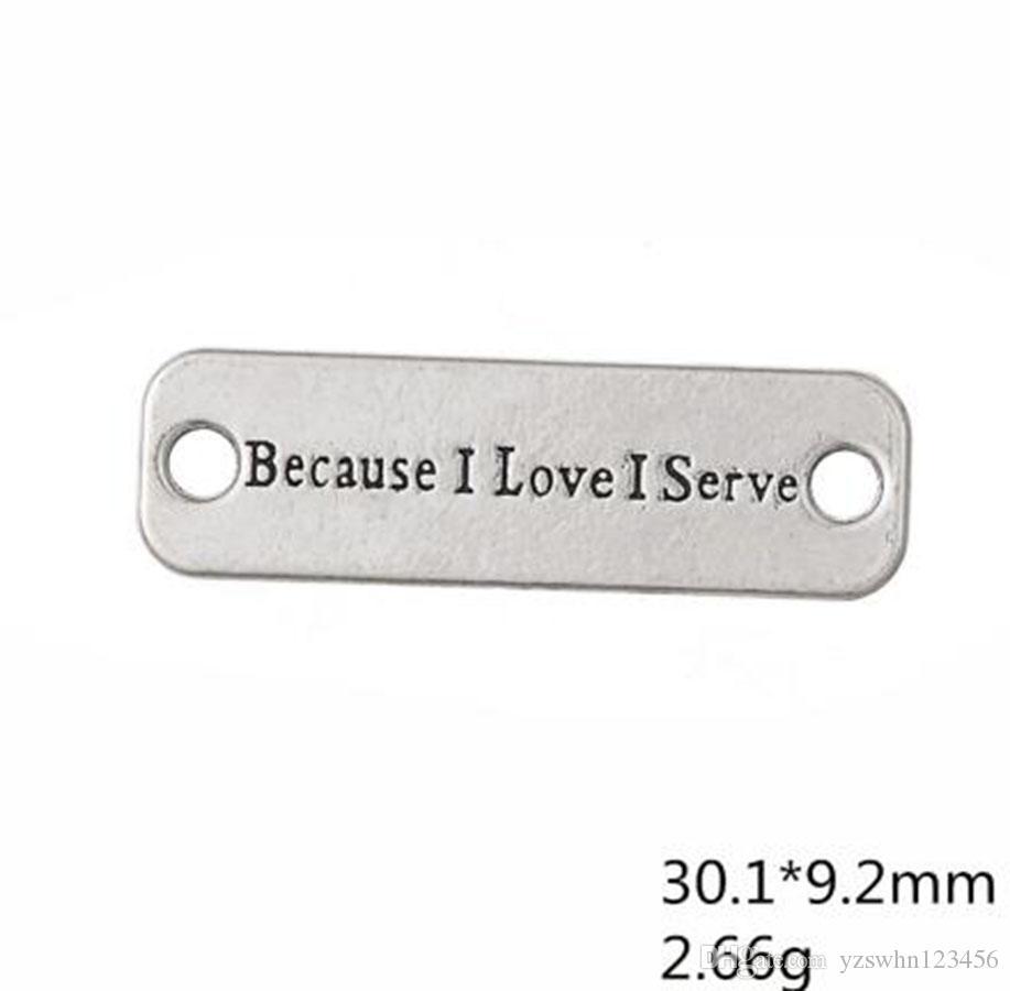 Mensaje plateado antiguo del rectángulo porque me encanta sirvo encantos del conector en la fabricación de la joyería