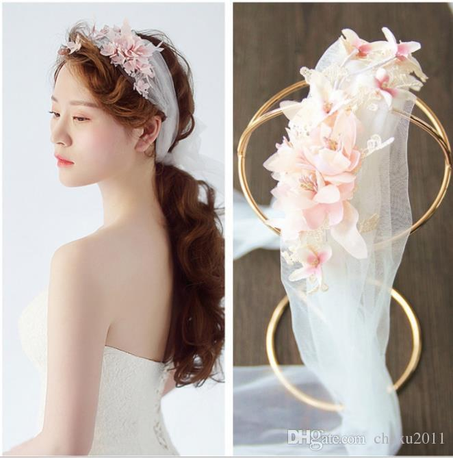 Korean new bride flower head dress wedding dress, hand-made head veil, bride hair accessories