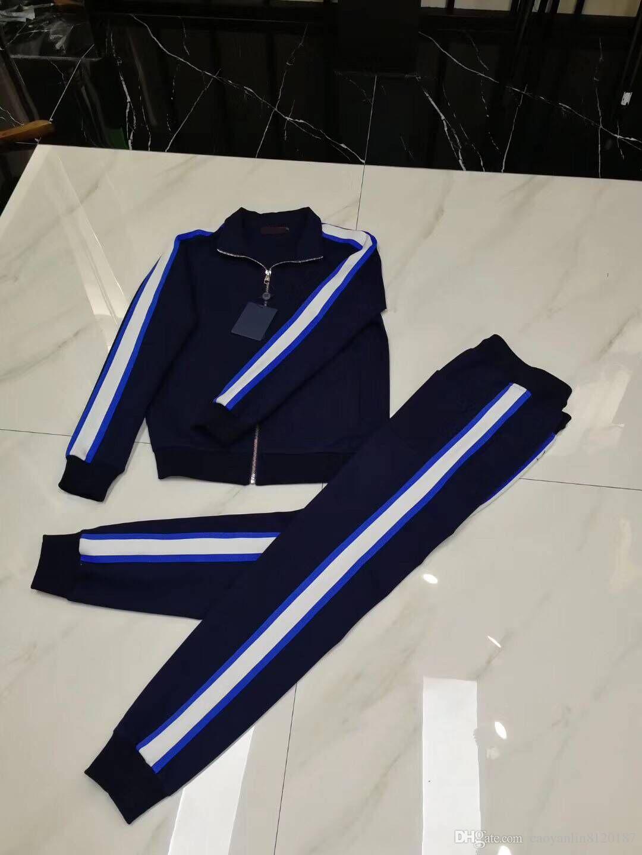 2018.8.5 Yeni klasik moda gerçek fotoğraflar ücretsiz kargo en kaliteli erkekler yüksek pamuklu uzun kollu casual eşofman sportsuit m-3Xl