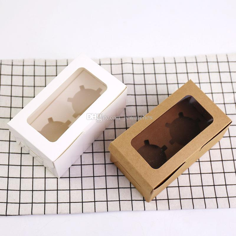 2 Cup Cake Holders Muffin Cake Boxes Dessert Portable Package Box Tray Kraft Card Paper Cupcake Box for Baking