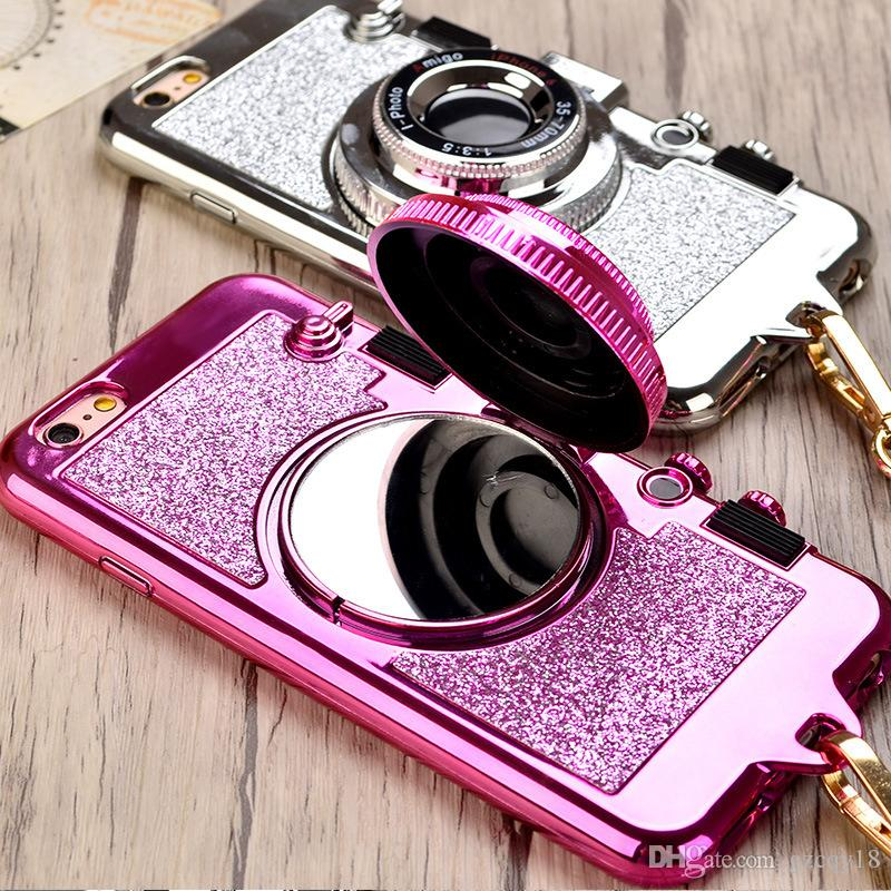Korean 3D Retro Camera Phone TPU Cases for Iphone 11 Pro Max X XS 8 7 6 6S Plus Case Cover Stand Holder Mirror with Package Box