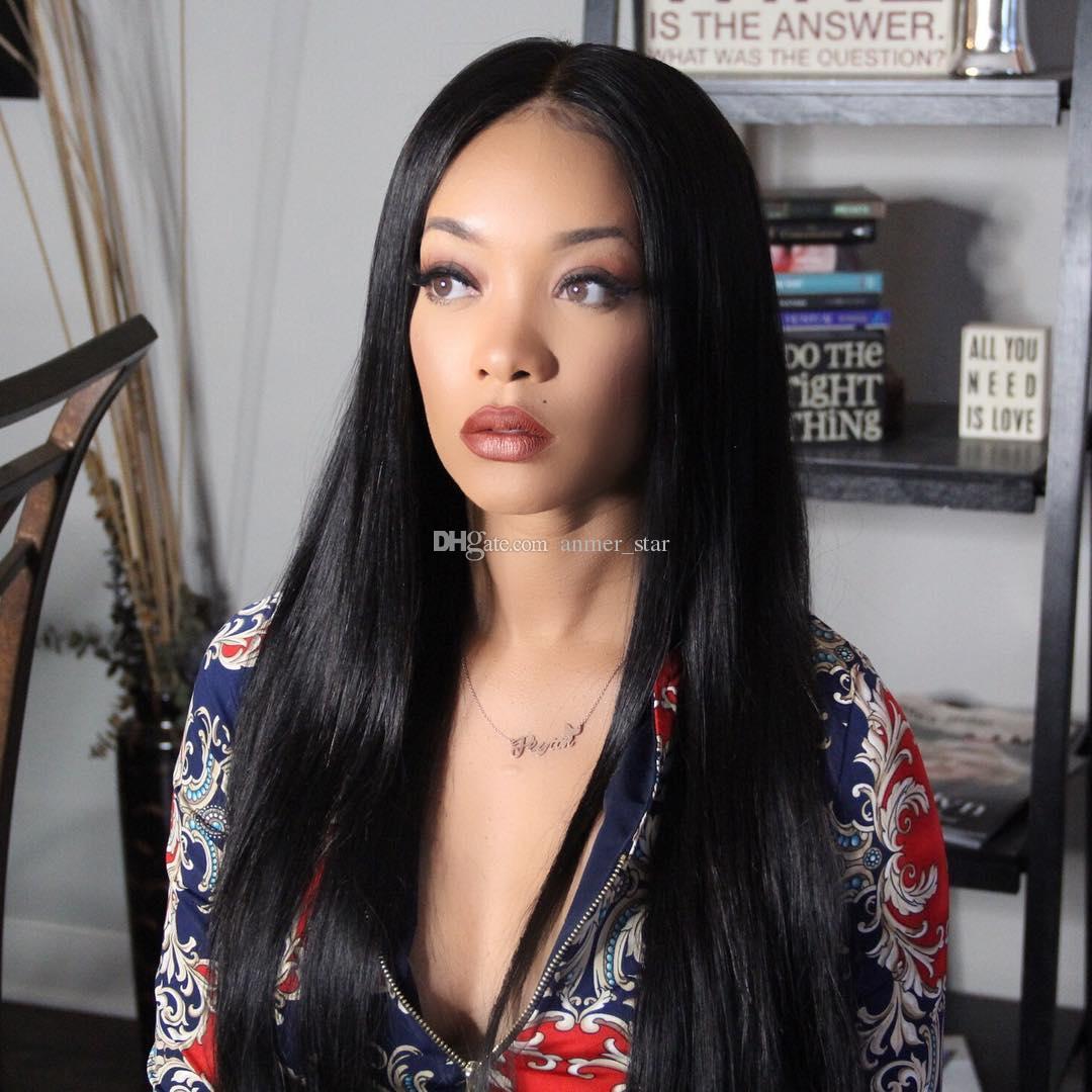 전체 레이스 인간의 머리 가발 최고의 버진 브라질의 페루 말레이시아 인도의 캄보디아 스트레이트 레이스 정면 가발 흑인 여성을위한 자연 색상