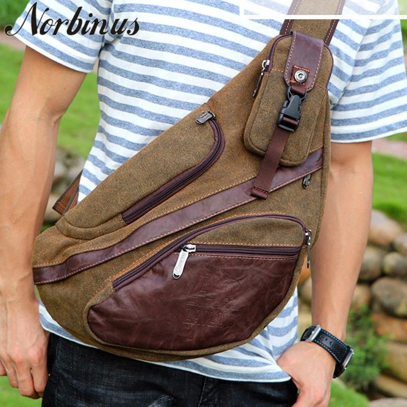 Men Messenger Chest Sling Bag Casual Travel Solid Canvas Shoulder Crossbody Flap Bags Day Pack Black