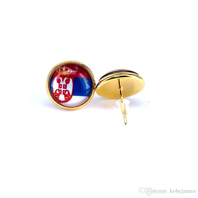 2018 National Flag Stud Earring Russia Spain France Germany Brazil Flag Earring 14mm Glass Gem Cabochon Copper Jewelry B18126