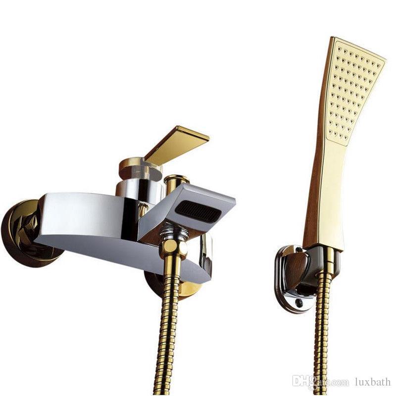 Rolya Premium Golden&Chrome Bathroom Wall Mounted Bathtub Faucet With Handshower Bath Mixer Taps