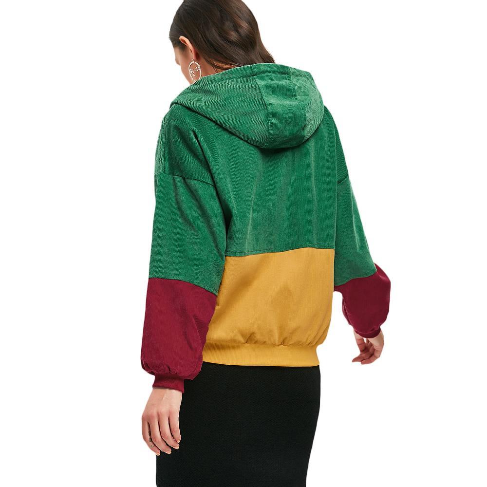 Mit Kapuze Farben Frauen Zaful Mantel Patchwork Großhandel Mäntel Taschen Beiläufige Herbst Cord Block Jacken Frühlings YIW29EHeD