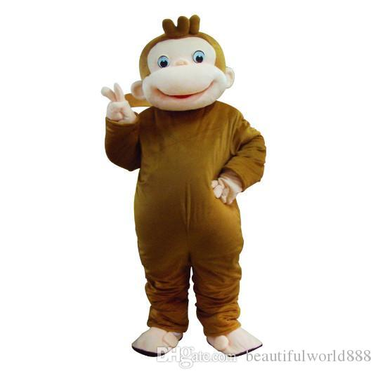 2018 High quality hot Curious George Monkey Mascot Costumes Cartoon Fancy Dress Halloween Party Costume Adult Size ems Free Shipping