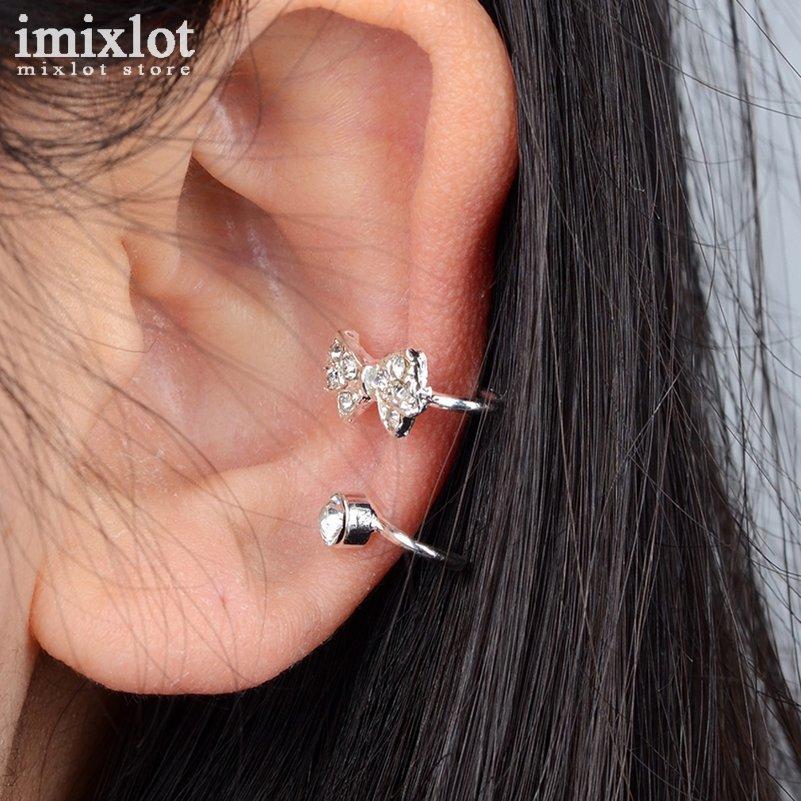 Oro argento punk strass bowknot polsino dell'orecchio clip su orecchini gioielli di moda non piercing per gli uomini donne brinco boucle d'oreille
