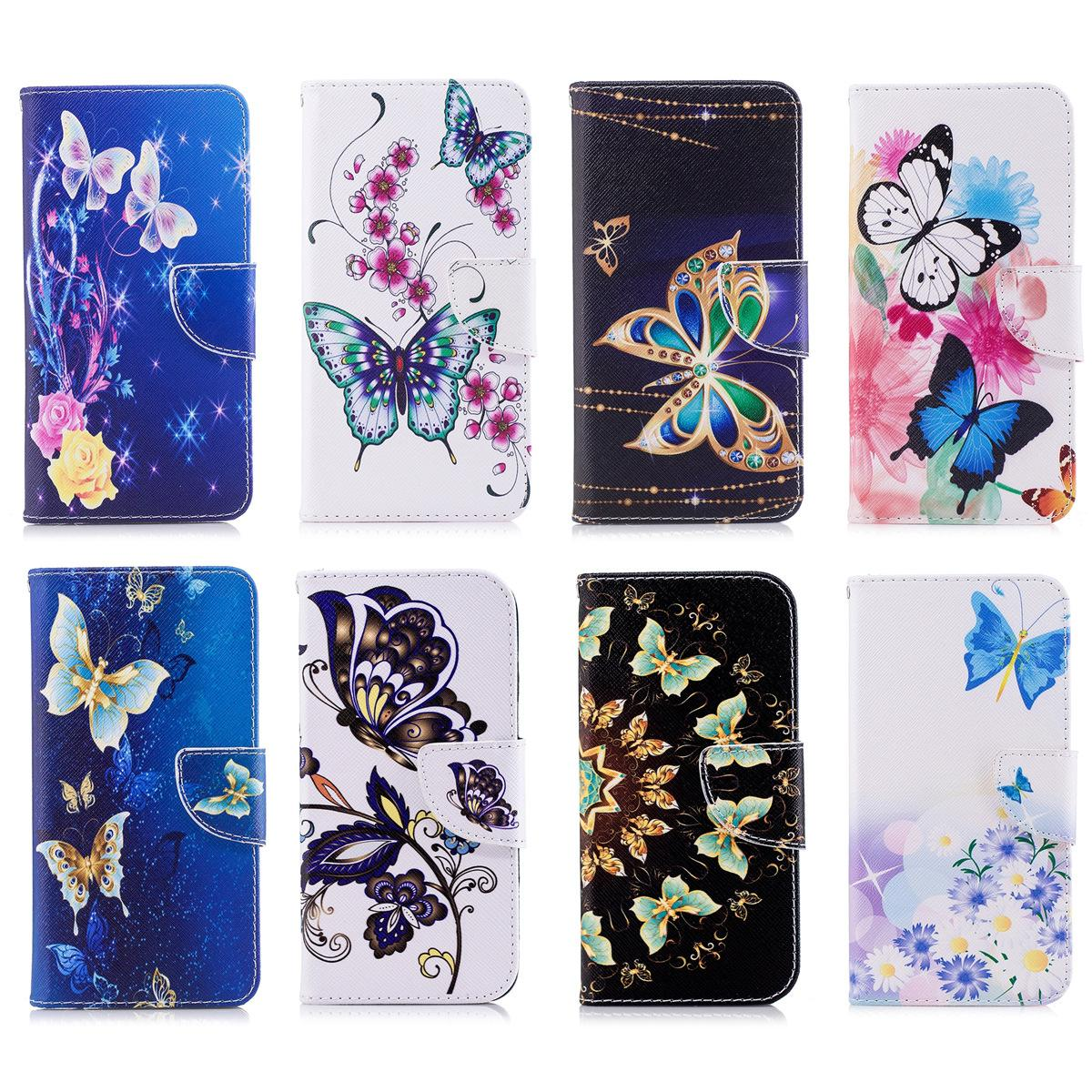 Beautiful Butterfly Series Mobile Phone Flip Wallet Case Stand PU Leather Cover with Card Slot Money Holder 65 Models for Option