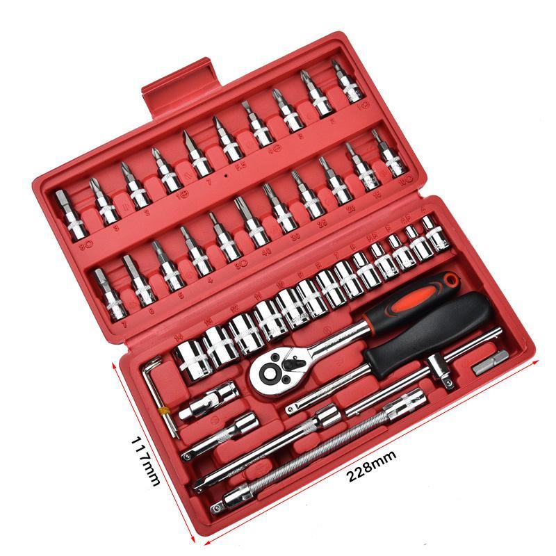 46 stücke 1/4-zoll Steckschlüsselsatz Auto Repair Tool Ratsche Set Drehmomentschlüssel Kombination Bit eine der schlüssel Chrom Vanadium Kombination