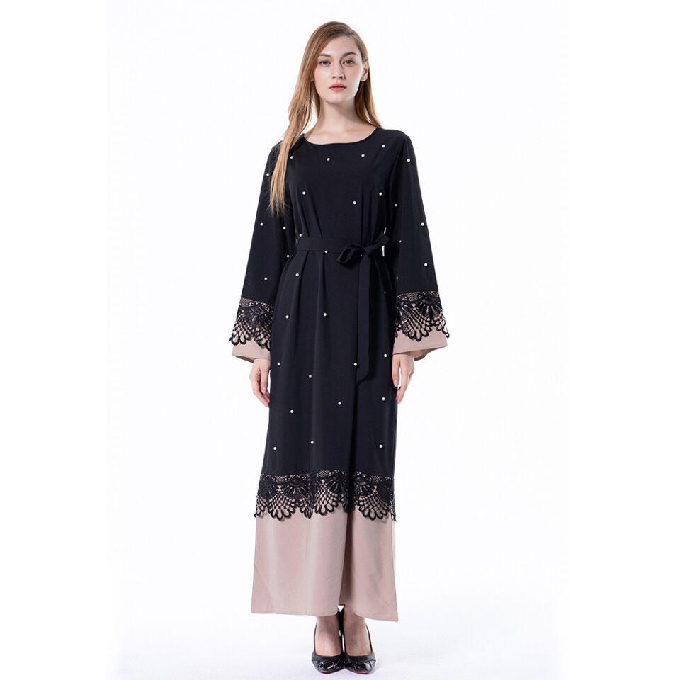 Novas Mulheres Muçulmanas Rendas Pretas Kaftan Vestido S-4XL Plus Size Manga Longa Islâmica Patchwork Robe com Cinto