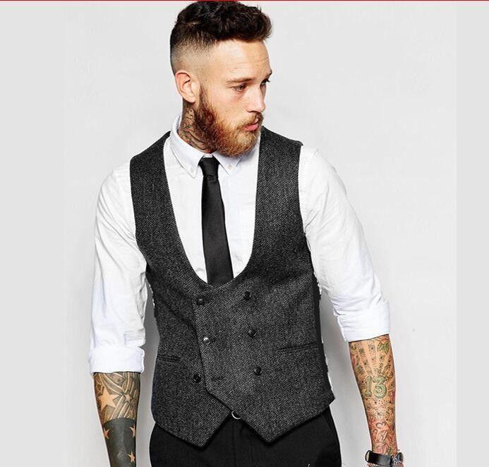 Barato y fino, fresco, chalecos de tweed de lana, espiga, estilo británico, hecho a medida para hombre, traje de sastre, traje ajustado, traje de boda para hombres