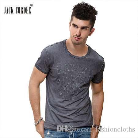 JACK CORDEE moda camiseta hombres letra Slim Fit 100% algodón de bambú camiseta manga corta marca original diseño Tops camiseta