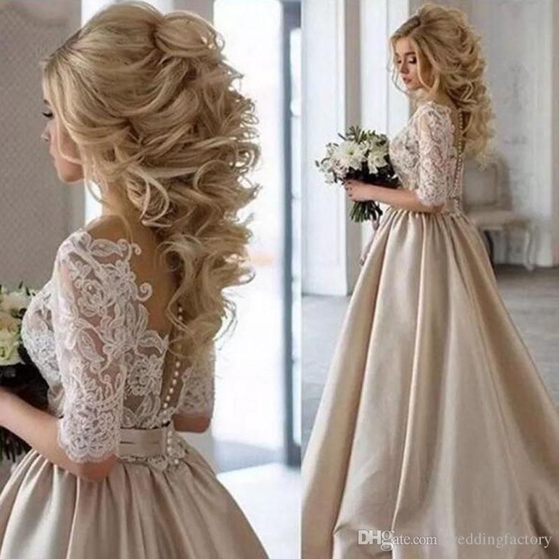 Neueste Champagner Brautkleider Sheer Hals Half Ärmeln Spitze Appliques Satin Lange Hochzeitskleider Durchhang Vintage Brautkleid