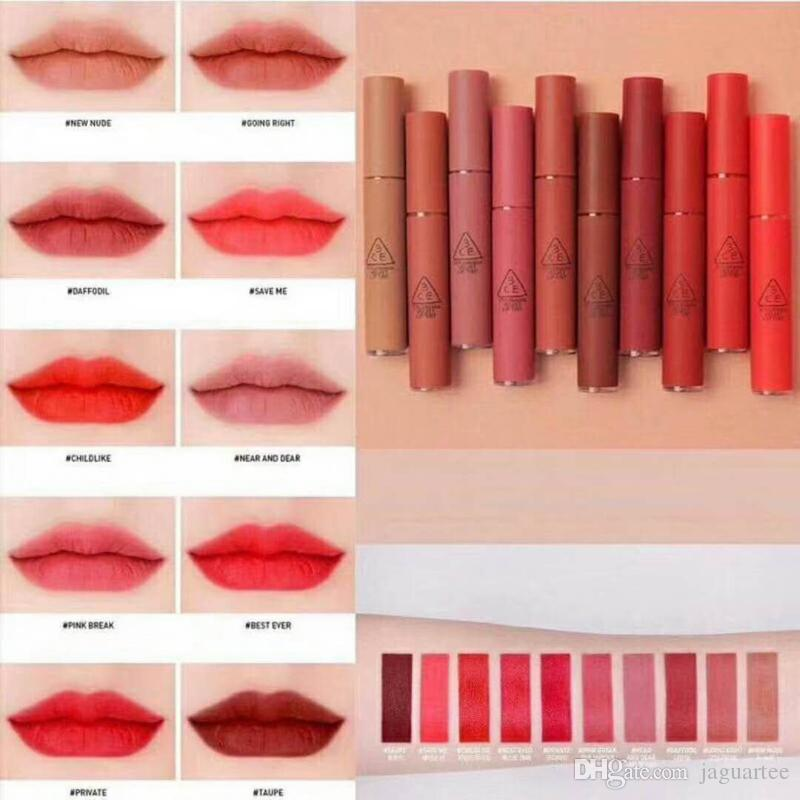 10 Colors 3CE Matte Lipstick Hottest Long Lasting Waterproof 3CE Velvet Lip Tint Matte Nude Lip Sticks DHL Free