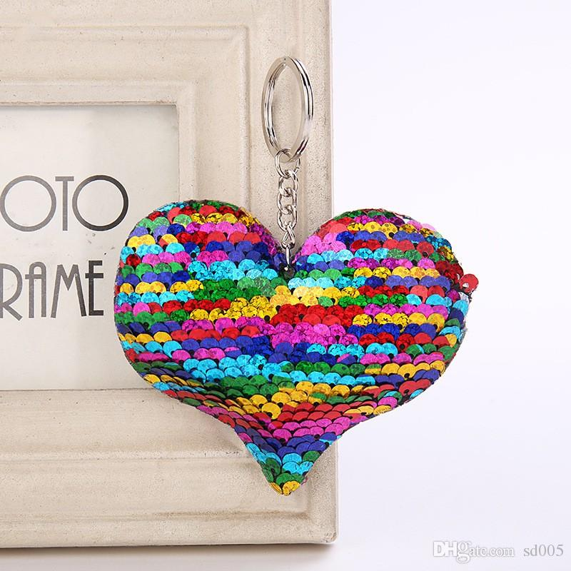 Colorful Sequin Key Chain Love Heart Shape Bag Charms For Women Valentines Day Gift Keys Ring New Arrival 1 6wz BB