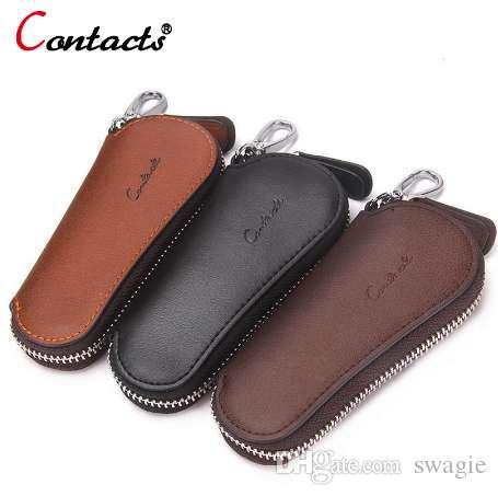 Caisse chaîne en cuir véritable couverture organisateur porte-clés porte-clés portefeuille pour clés pour hommes mâles sac de ménage homme voiture contact