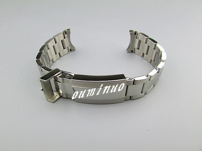 20mm (버클 16mm) NEW 고품질의 폴리 쉬드 + 솔질 된 마감 순수한 스테인레스 스틸 시계 밴드 BANDS 시계 손목 롤렉스 시계 용