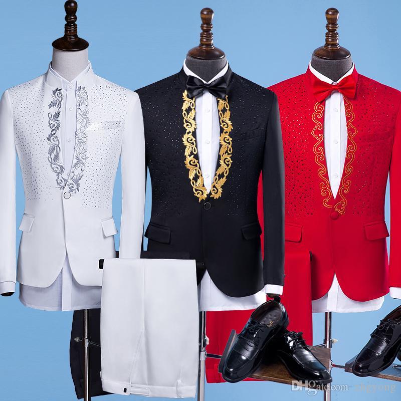 (veste + pantalon) Costumes Slim Homme Costumes Clignotant Rouge Cristaux Diamant Blazers Pantalons Ensembles Discothèque Chanteur Stade Costume Hôte Fête Costumes