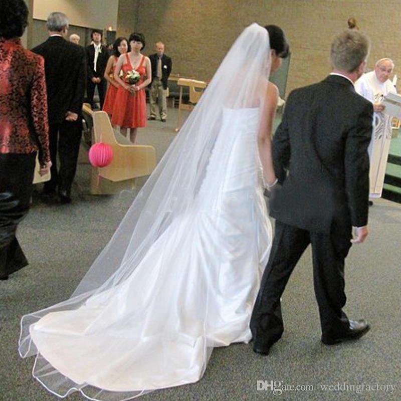 Elegantes y sencillos velos de novia Fiesta de boda formal larga Accessaries Una capa de tul velo con tren Color personalizado Blanco Marfil Champán